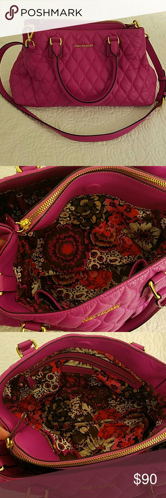 Vera Bradley Quilted Leather Pink Shoulder Bag This color is beautiful! This bag is large and roomy, will even hold your iPad.  Plenty of pockets for organizing.  There is some wear on each of the 4 corners, please see pictures.  Other than corn wear, bag is in great condition!  No tears or signs of wearing on the handles or inside bag.  The price reflects the corner wear.  This is a very beautiful bag to carry, you will get compliments for sure! I have wallet to match!  Sold separately but…
