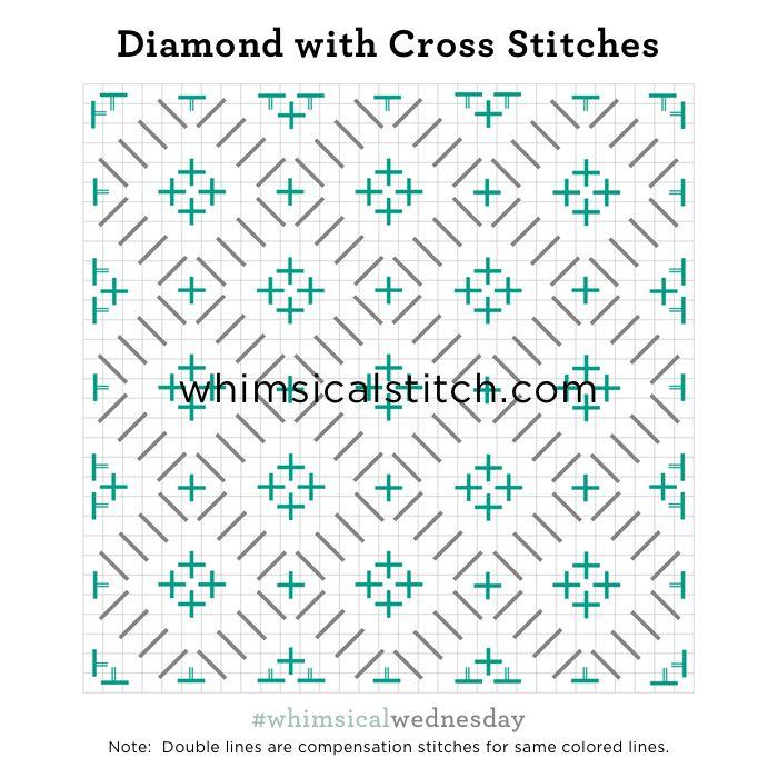 Diamond with Cross Stitches from January 17, 2018 whimsicalstitch.com/whimsicalwednesdays blog post.