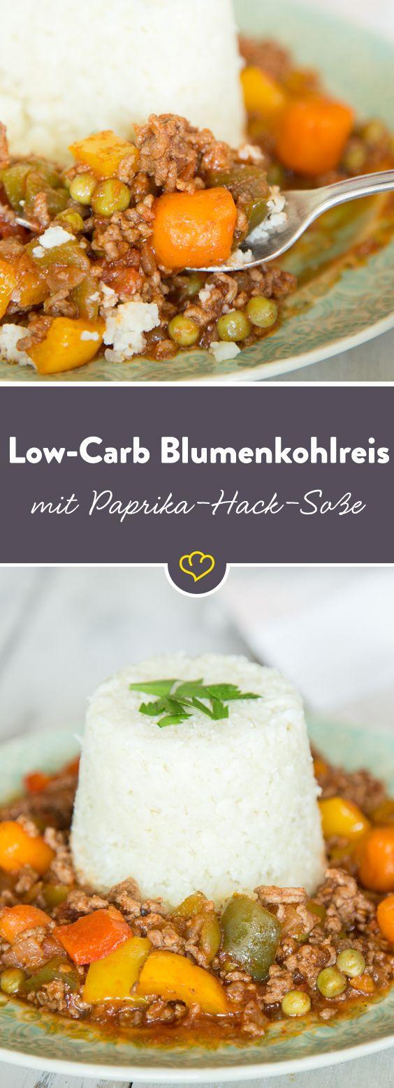 Es gibt Low-Carb-Reis, Baby! Mit Paprika und Hackfleisch