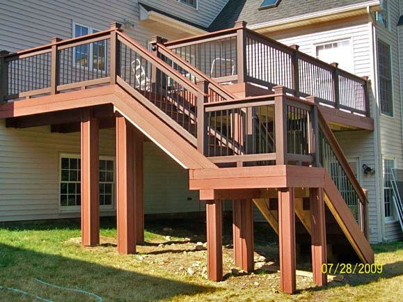 Tall deck with stairs and landing ideas for the house pinterest decking backyard and patios for Home designer stairs with landing