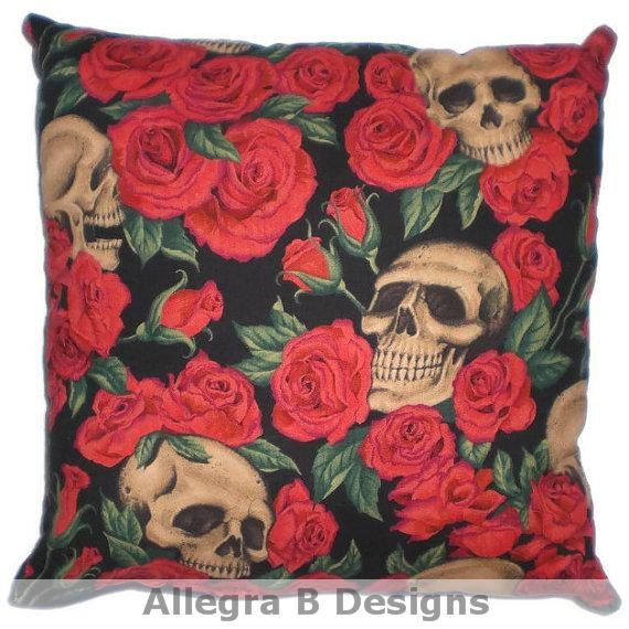 Gothic Skulls and Roses Decorative Throw Pillow Rockabilly Home Decor on Etsy, $15.00