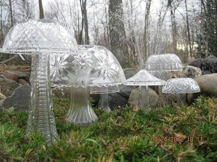 Amazing Homestead Survival: Crystal Mushrooms Made From Cheap Florist Vases, Bowls  And Light Fixtures. Yard Sale Finds: Cheap Florist Vases, Bowls And Light  ...
