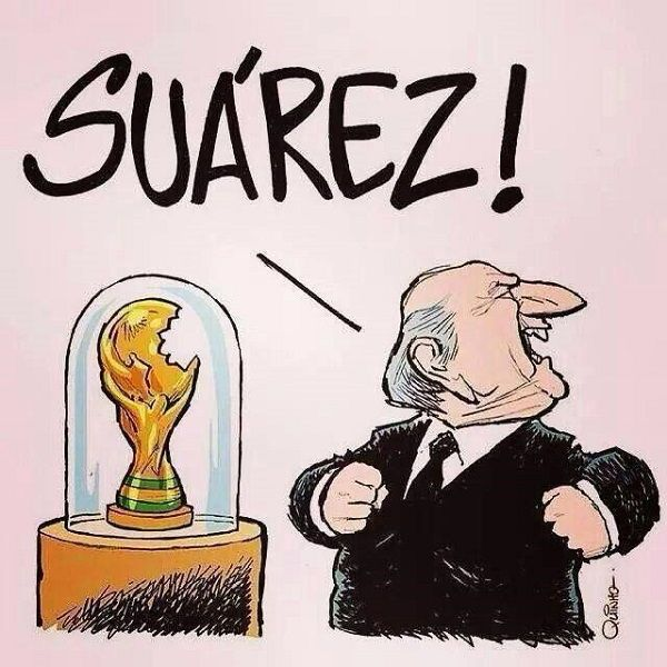 Sepp Blatter wściekł się kiedy zauważył odgryziony Puchar Świata • Luis Suarez był głodny i posmakował puchar • Wejdź i zobacz >>