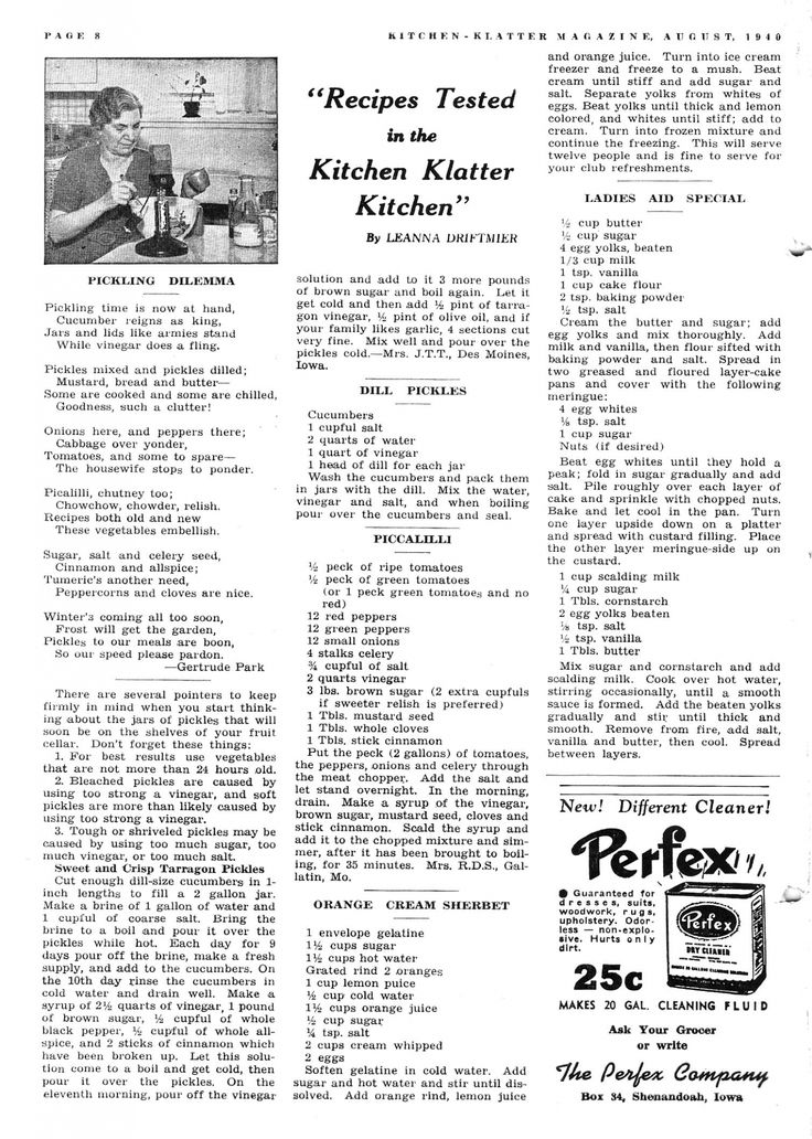 Kitchen Klatter Magazine, August 1940 - Tarragon Pickles, Dill Pickles, Piccalilli, Orange Cream Sherbet, Ladies Aid Special