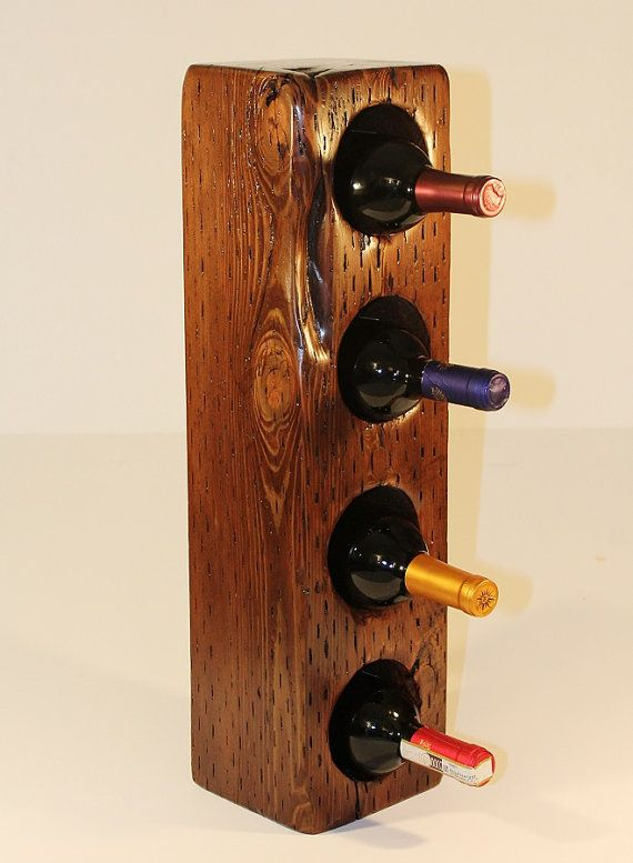 wine rack made from reclaimed wood of a Boston railroad, $30 on etsy