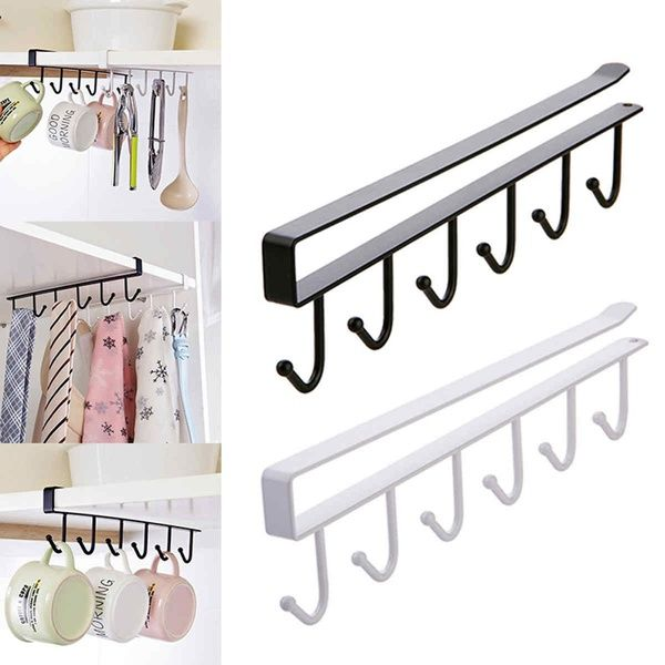 Creative 6 Hooks Cabinet Hanger Wardrobe Holder Cup Shelf Clothing Hook Hanging Storage Rack Wish Kitchen Storage Rack Under Shelf Storage Hanging Storage