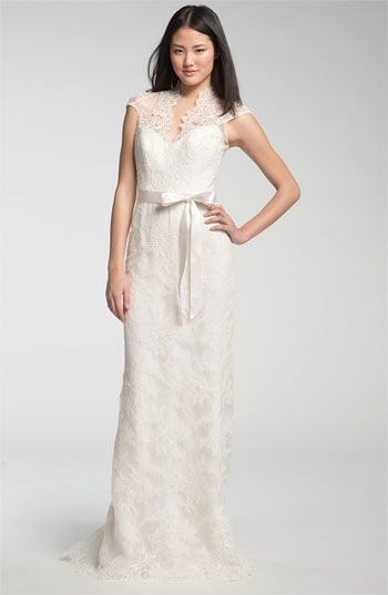Theia Lace Overlay Cap Sleeve Gown available at #Nordstrom