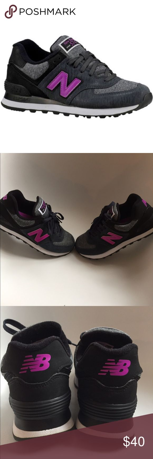 New Balance 574 Women's Sneakers Grey / Purple  worn only once New Balance 574's. Very cute and stylish  kicks! Smoke/ Pet Free Home. size 6.5 Women's/ 37 European New Balance Shoes Sneakers