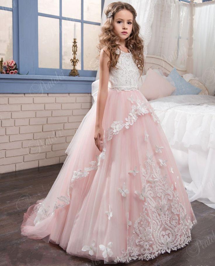 awesome Coiffure de mariage 2017 - Pas cher 2017 Rose Dentelle Fleur Filles Robes Pour Mariages Appliques robe de B...