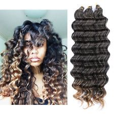 22″ 80g Crochet Bulk Hair Weft Deep Wave Synthetic Hair Extension Crochet Braids