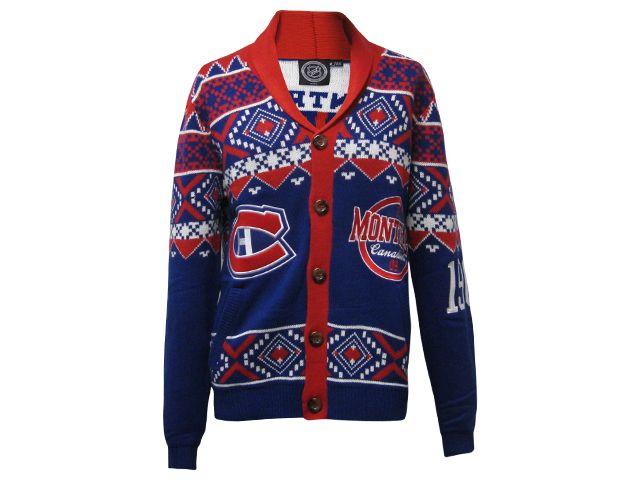 Cardigan de Noël laid pour homme des Canadiens de Montréal de type ugly christmas sweater