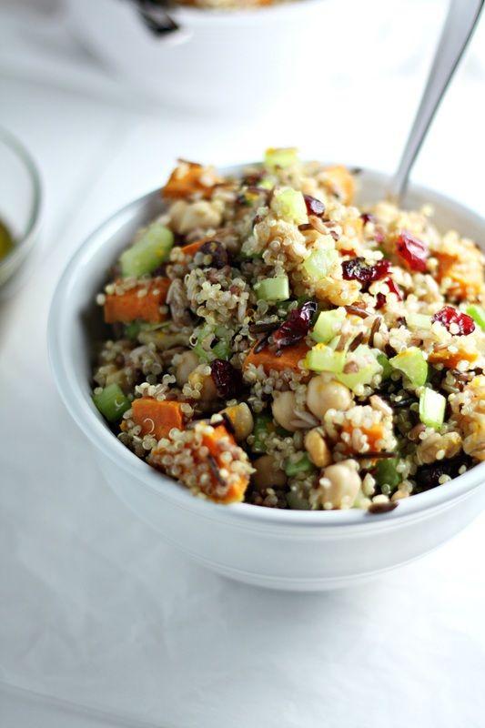 Vegan Ancient Grains Salad with Orange Zest and Maple Mustard Vinaigrette (vegan recipe) by Drool-Worthy