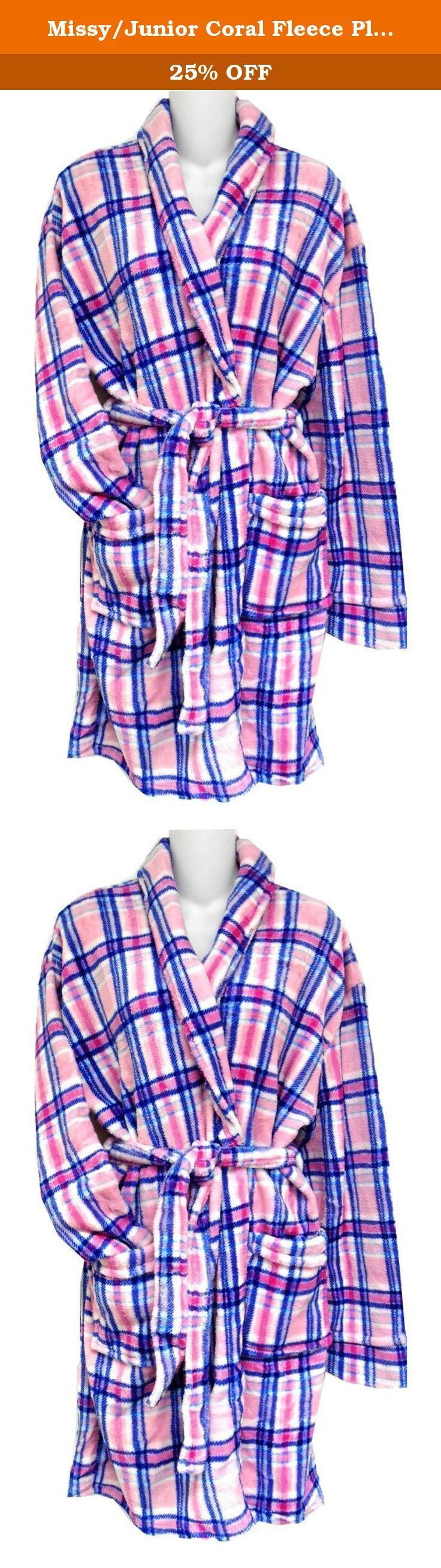 Missy/Junior Coral Fleece Plaid Robe White/Pink/Blue LG. Soft Fluffy Ladies Belted Robe with Shawl Collar Patch Pockets. Knee Length SM-XL.