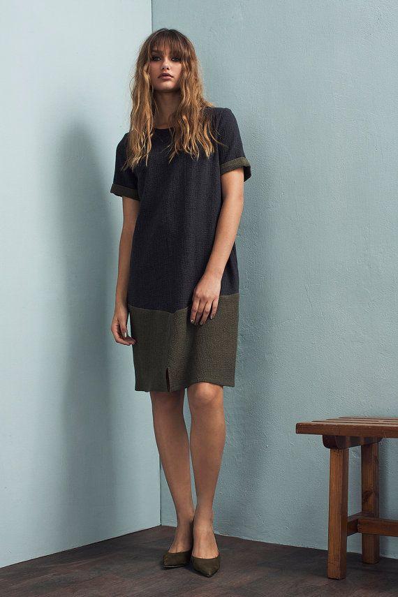 Button back dress - Knit dress - Fall dress - Loose dress - A-line dress - Sweater dress - Knee length dress - Grey dress - Tamar dress
