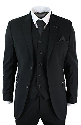 Mens 3 Piece Black Tailored Fit Suit Grey Trim Smart Formal Occasional - Royal Hub