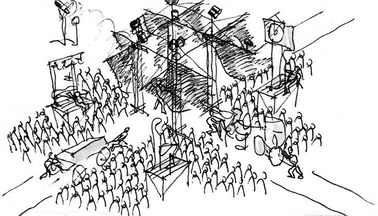 Bozzetto dell'allestimento: un corpo centrale attraversato da due linee di movimento e quattro palchi au lati. Tutto intorno il pubblico.