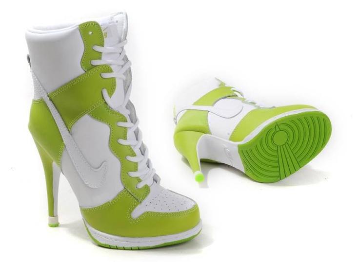 Cheap Women's Nike Dunk High Heels High Shoes Green/White For Sale