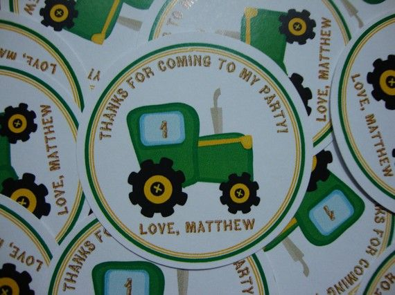 tractor party favor tags