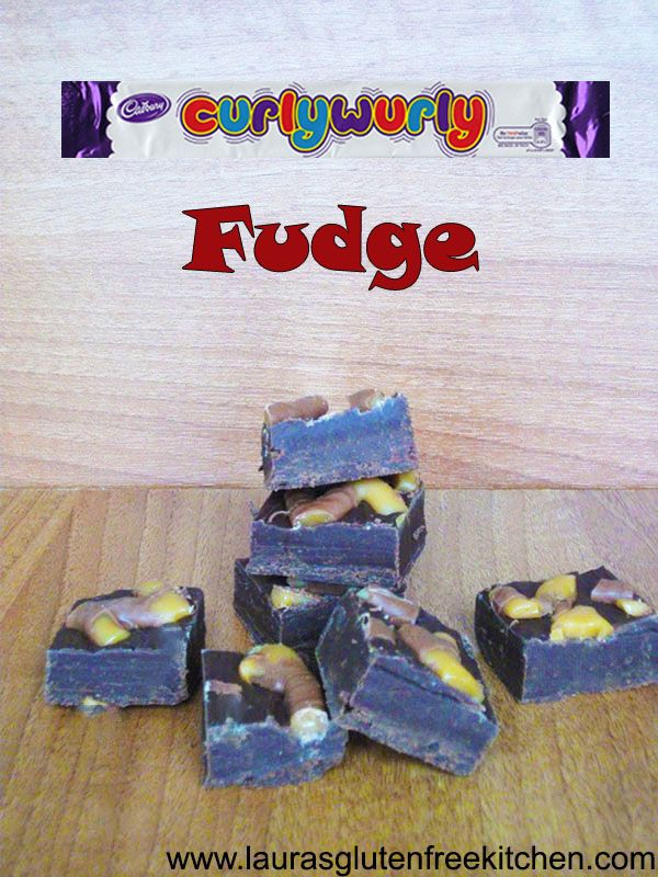 Gluten Free Curly Wurly Fudge --- A curly Wurly is a chewy caramel ladder, draped in delicious milk chocolate and the best thing is they are gluten free. Yay, us celiacs get to eat that yummy twirly goodness.