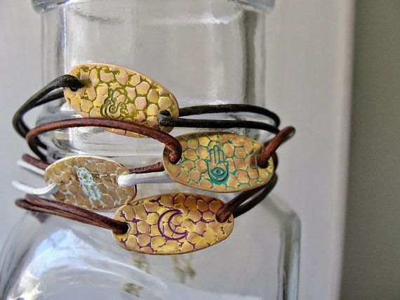Hand Stamped Leather Bracelets // Moon // by ElizabethSheaDesigns