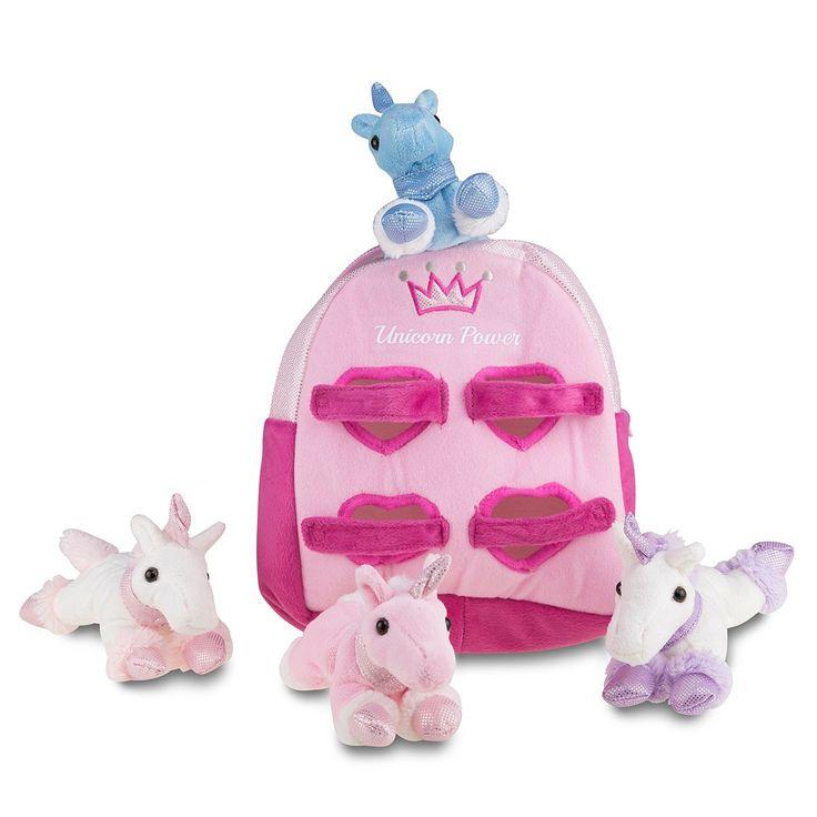 Personalisierter Rucksack mit Plüsch-Einhörnern