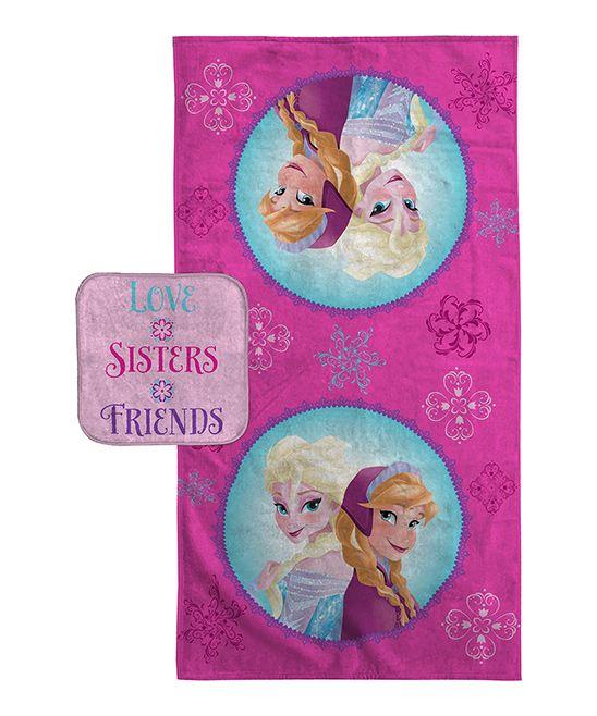Frozen Snowflake Sisters Bath Towel & Washcloth