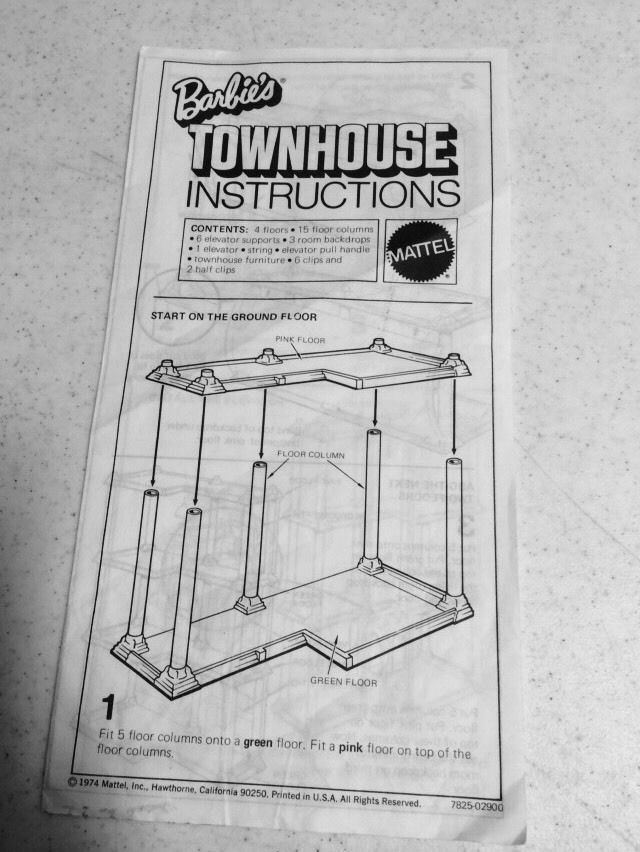 1974 BARBIE'S TOWNHOUSE INSTRUCTIONS, MATTEL TOY, EXC. READABLE COND.  Green and Pink Plastic Floors