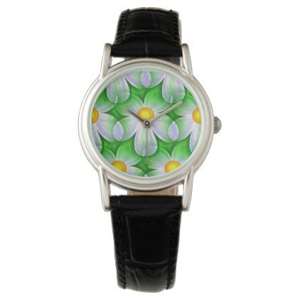 Black Leather Band Watch W/White Flowers - flowers floral flower design unique style