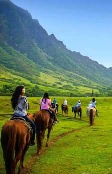 Kualoa Ranch (east side of Oahu)~ horseback riding, 2 hour tour :)