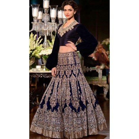 Deepika Padukone Navy Blue Heavy Lehenga-Clothing-JDCREATION