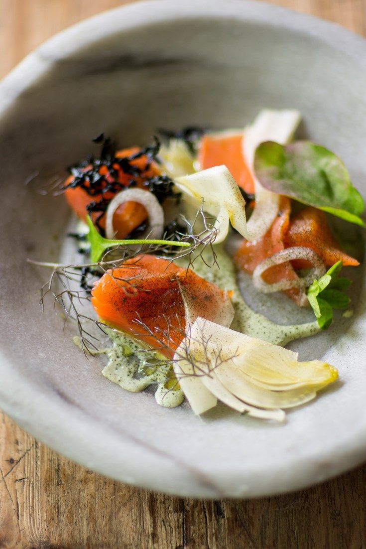 This cured and smoked salmon recipe from chef Robin Gill is beautifully presented with a luxurious oyster mayonnaise and quick pickled fennel.