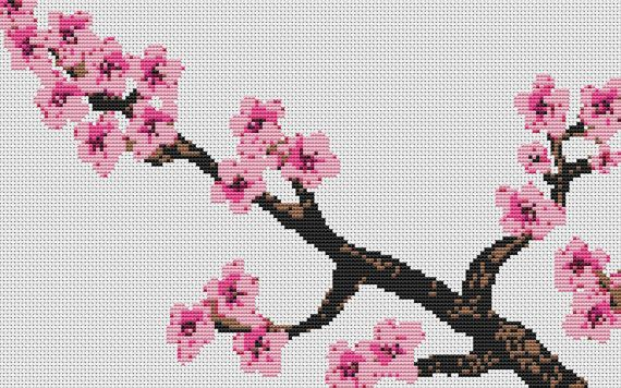 Cross Stitch Kit Cherry Blossom - Counted CrossStitch Kit on Etsy, $25.00