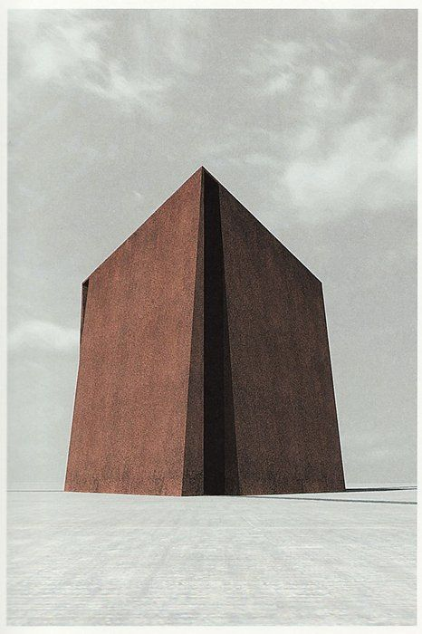 Simon Ungers, Silent Architecture [Cathedral rendering], 2003-2004/ The purity and simplicity of this structure perfectly befits the spirit of a religious building.