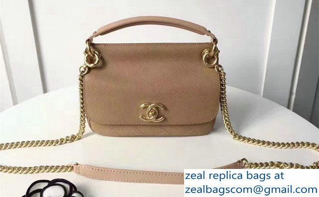 Chanel Grained Calfskin Mini Flap Bag With Top Handle A93756 Beige 2017