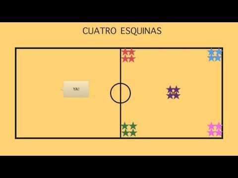 CUATRO ESQUINAS - Juegos Educación Física - YouTube
