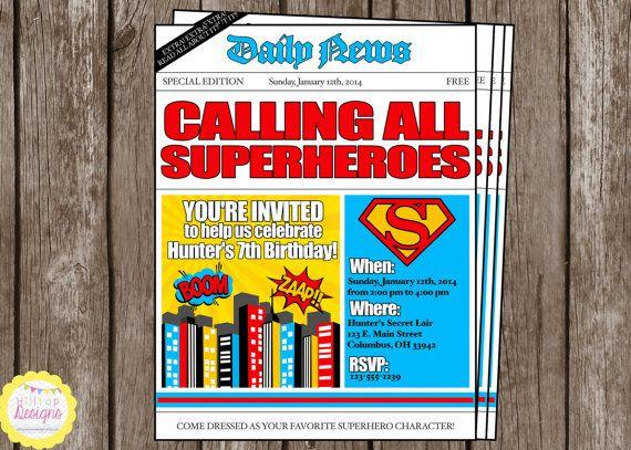 PRINTABLE Newspaper Boys Superhero Birthday Invitation ...