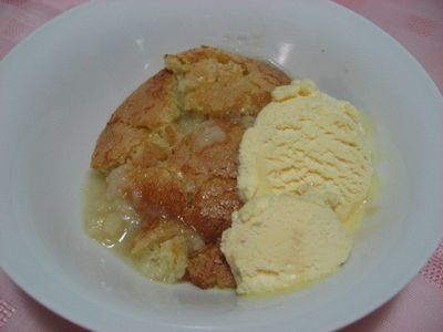 Light and fluffy cake pudding with its own thick lemon sauce. So easy to make.