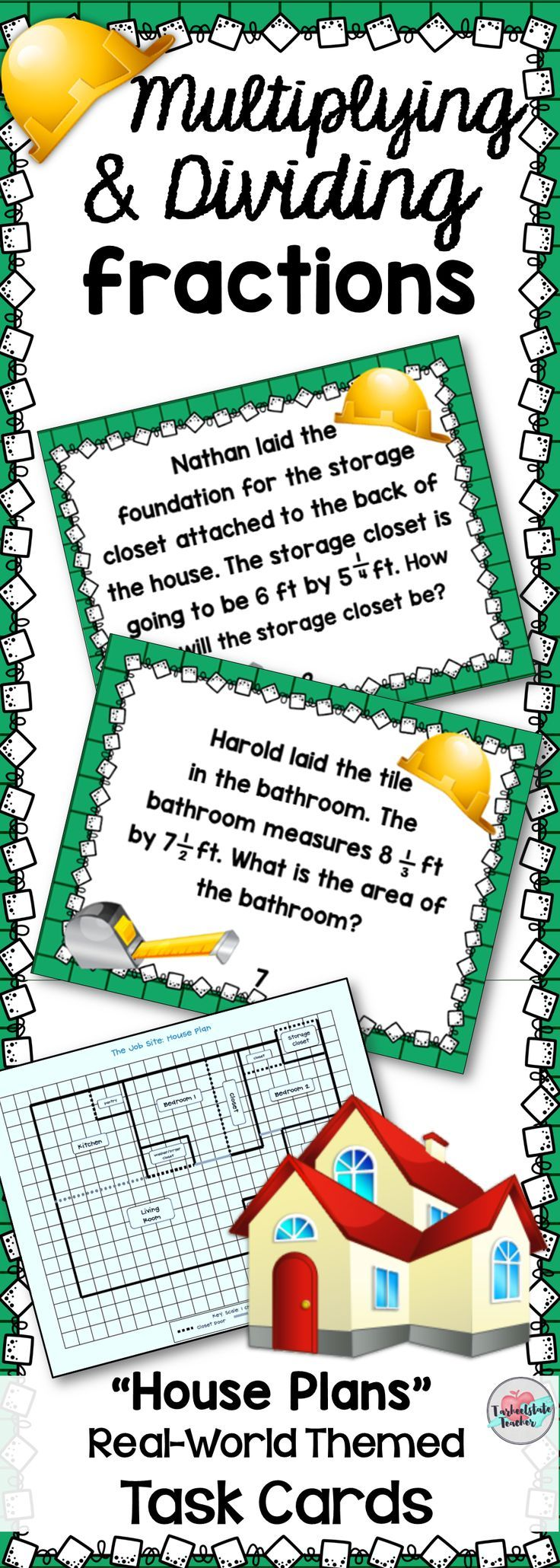 "Get your 4th or 5th grade students engaged and constructing a house with these real world themed ""House Plan"" Multiplying and Dividing fractions (by fractions and by whole numbers) task cards. Your students will multiply and divide fractions to solve word problems related to the area of different spaces in the house. Print as worksheets or use as task cards. Put these in a station or center for extra practice! Extension activities are included! Common Core aligned."