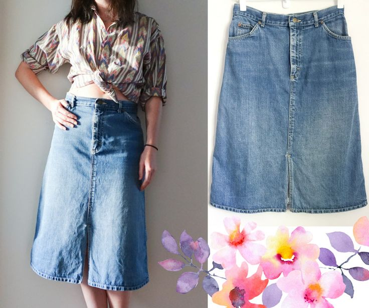 70's DENIM MIDI > Lee Riders Skirt > Vintage > Mid Wash Blue > Straight Cut > Mid Length > High Waist > Made in USA > Retro >Womens Clothing by DustyDiamonds on Etsy