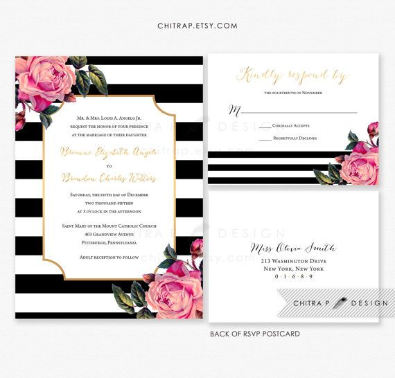 Pink black white wedding invitation rsvp postcard for Rose gold winter wedding invitations