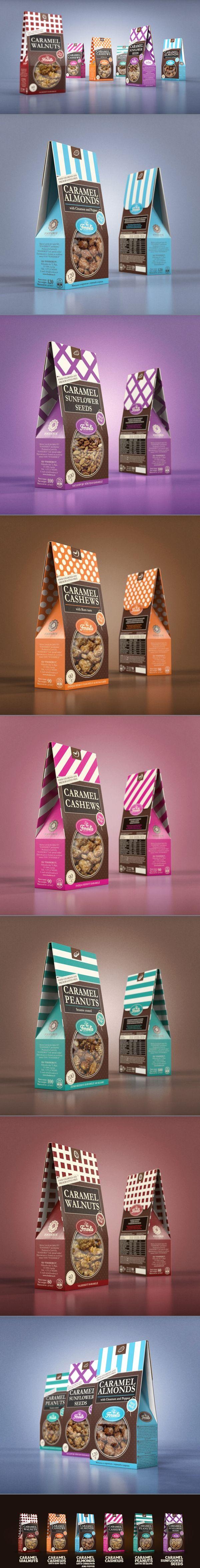 Sugar nuts :  Packaging design by Studio43.  Source : http://www.behance.net/gallery/Nuts-packaging/3502503