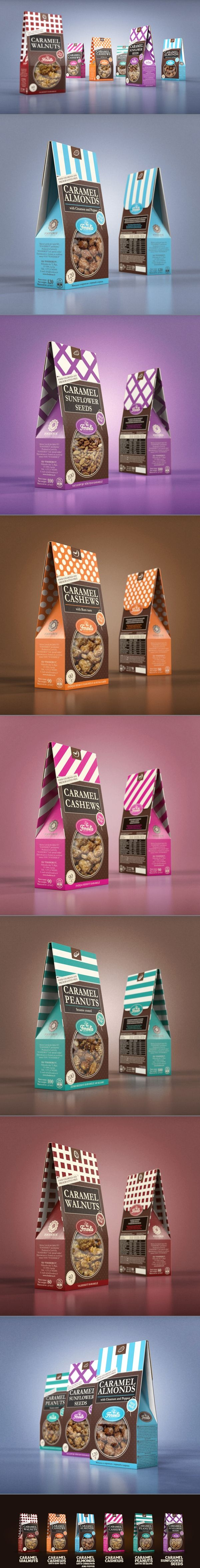 Sugar nuts :  Packaging design by Studio43.  Source : http://www.behance.net/gallery/Nuts-packaging/3502503