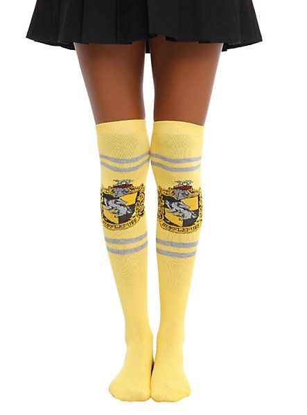 Harry Potter Hufflepuff Over-The-Knee Socks from Hot Topic $7.60 in yellow.  -- Hogwarts. fangirl. clothing. fashion. accessories. movie. book.
