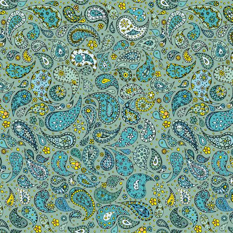 AquaAndSun-Paisley_melanieortner fabric by funkenflug on Spoonflower - custom fabric