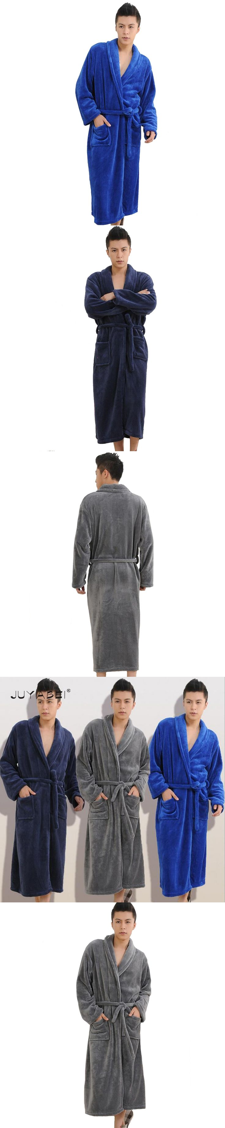 4 Colors 2017 Winter Autumn Flannel Men's Male's Bath Robes Belt Gentlemen's Homewear Male Sleepwear Lounges Pajamas Pyjamas