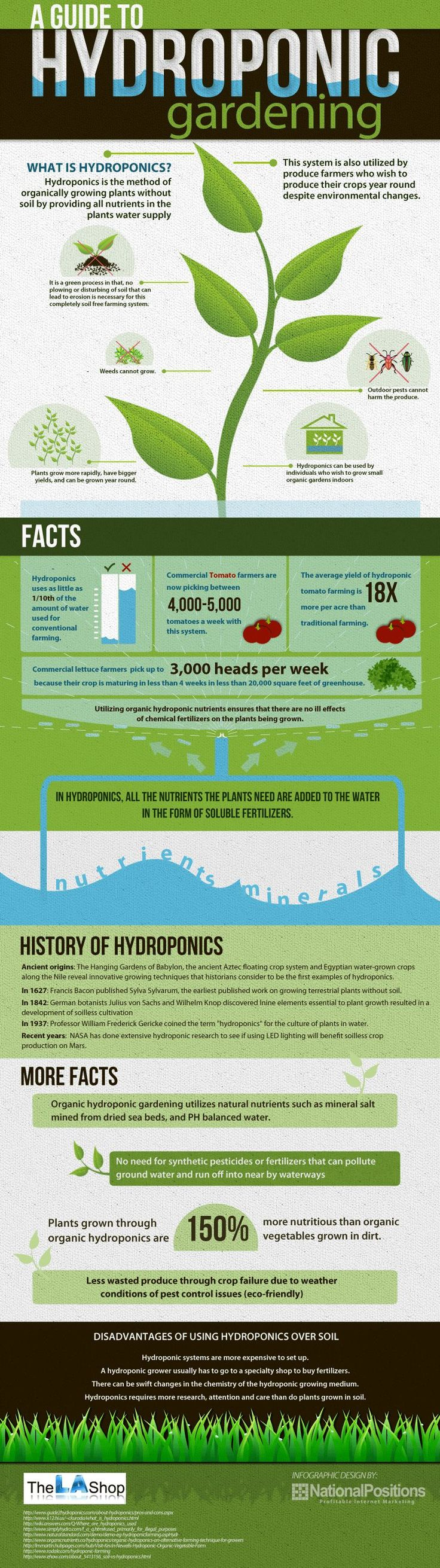 A Guide to Hydroponic Gardening  [by TheLAShop -- via #tipsographic]. More at tipsographic.com