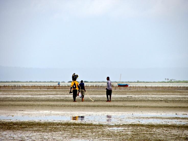 Three Dhow Fishermen, Playa del Tofu, Mozambique.
