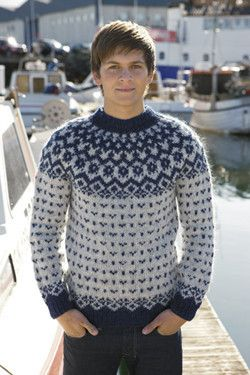 Icelandic Fishermans Wool Pullover - Blue - Wool Knitting Kit - Shop Icelandic Products