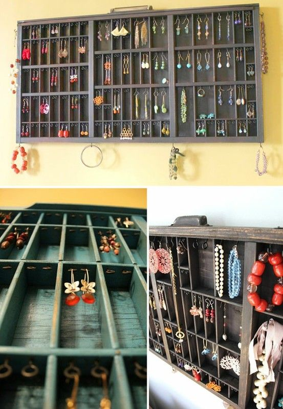 Another great jewelry storage idea. Old drawer, turned, hooked and hung.