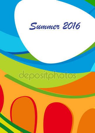 Download - Summer RIO 2016 Summer calligraphy abstract background. Olympic games 2016 Brazil Summer colorful pattern. Summer wavy illustration. Vector — Stock Illustration #114722554